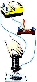Притяжение железных опилок катушкой с током
